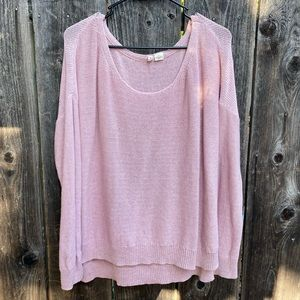 Moth Anthropologie Slouchy Crewneck Sweater Pink
